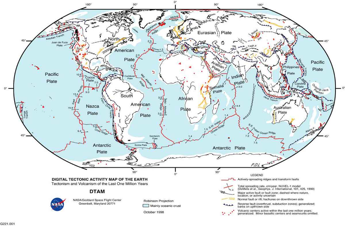 NASA Image: Faults of the Earth indicated by red lines