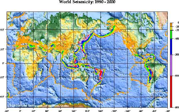 USGS World Seismicity Map 1990-2000