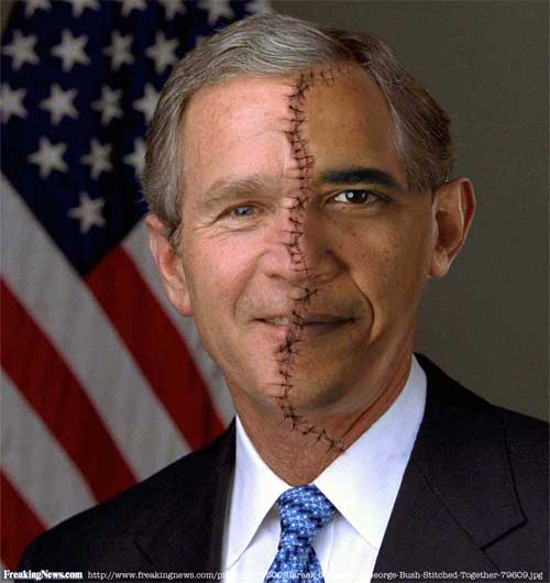 http://www.freakingnews.com/pictures/79500/Barack-Obama-and-George-Bush-Stitched-Together-79609.jpg