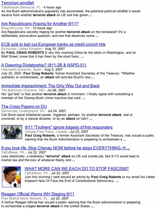 Google screen shot about Neocons attacking in the United States again.