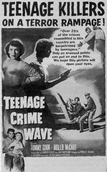 "MOVIE POSTER SAYING ""TEENAGE KILLERS ON A TERROR RAMPAGE!"""