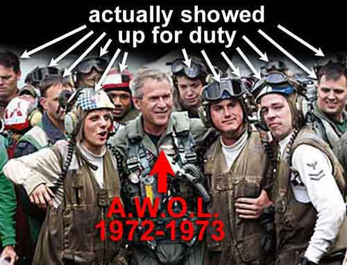 George W. Bush A.W.O.L. 1972-1973 surrounded by the brave people who actually showed up for duty