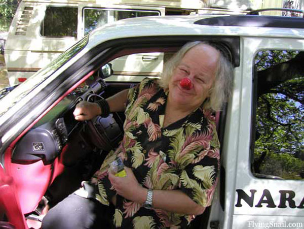 Wavy Gravy at Flying Snail Ranch, photograph by C. Spangler