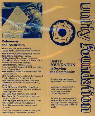Mid '70s Unity Foundation Pamplet - Back