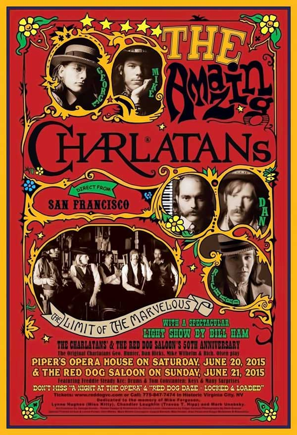 The Charlatans at the Red Dog Saloon 50th Anniversary Celebration poster
