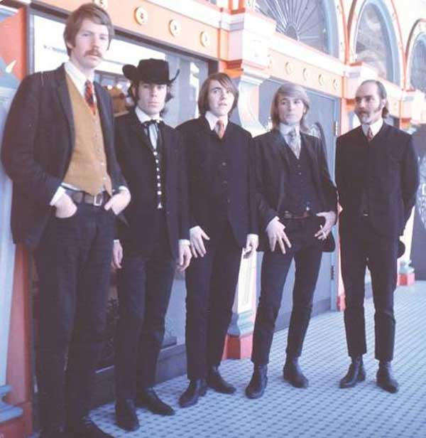 Charlatans, 1966 in front of former Barbary Coast hot spot: Hippodrome, Pacific St., San Francisco.