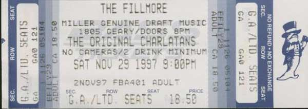 the Charlatans Fillmore Ticket