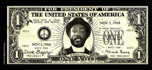 Dick Gregory One Vote 5 Nov 1968 - Photo: Chris Nelson