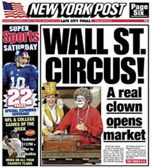 A real clown opens the market via Paul Krassner