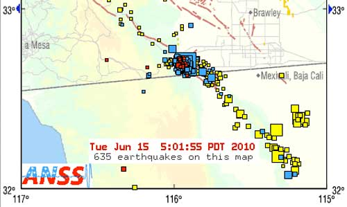 5.7 Magnitude San Diego earthquake and floating swarm USGS map