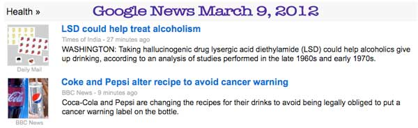 Screenshot March 9, 2012 Google Health News