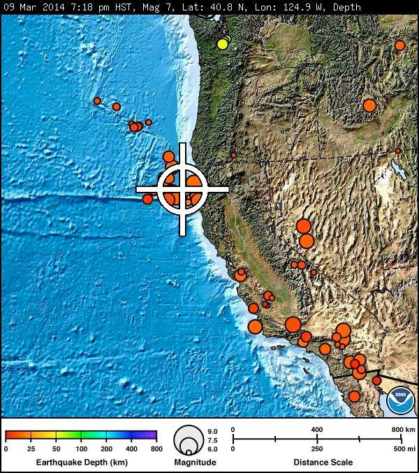 m6.9 Off shore Northern California