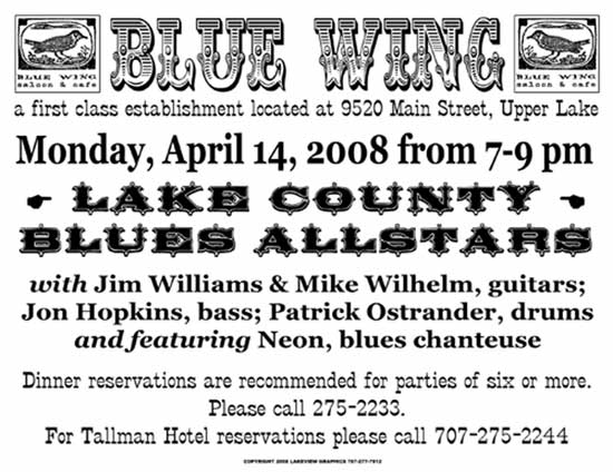 Lake County Blues Allstars, April 14th, 7pm