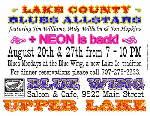 Lake County Blues Allstars - August 20th and 27th - Blue Wing Saloon and Cafe
