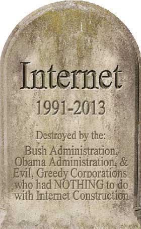 Internet Is Dead - 1991-2013 - Click to open local page on 100 OLDEST REGISTERED .COM DOMAINS
