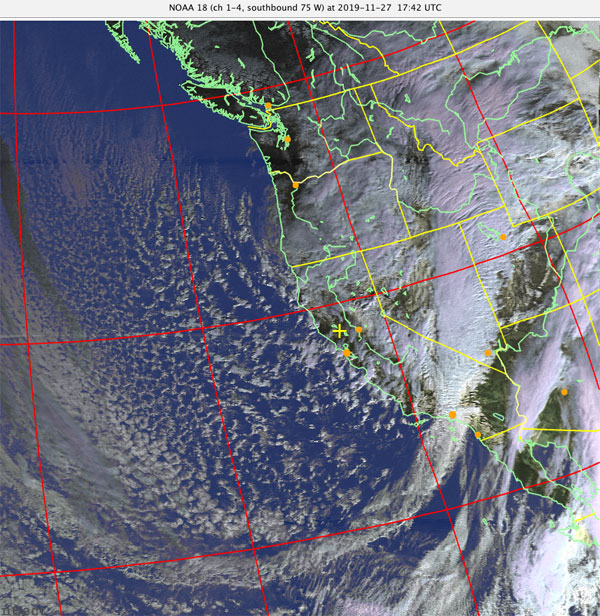 NOAA 18 (ch 1-4, southbound 75 W) at 2019-11-27 17:42 UTC