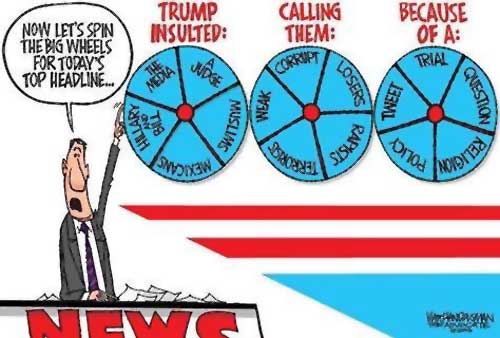 Walt Handelsman cartoon on spinning the big wheels for today's top headline