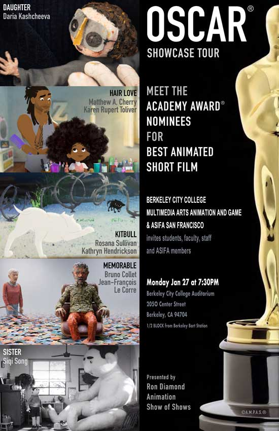 ASIFA-SF AND THE ANIMATION SOCIETY AT SAN FRANCISCO STATE UNIVERSITY INVITES YOU TO ENJOY   THE 5 FILMS NOMINATED FOR THE BEST ANIMATED SHORT OSCAR flyer