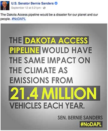 "Bernie says, ""The Dakota Access oioeline would be a disaster for our planet and our people."" ~ #noDAPL"