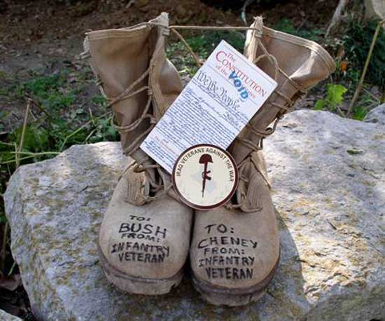 Photo of boots by Ward Reilly, member of VVAW, VFP, Advisor to IVAW.