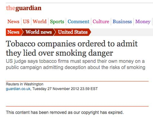 Tobacco companies ordered to admit they lied over smoking danger