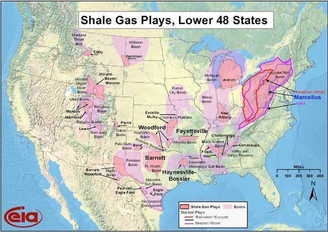 EIA Shale Gas Plays, Lower 48 States Map - Also known as a Fracking Map