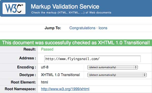 flyingsnail.com PASSES W3C Validation on Monday, August 13, 2012