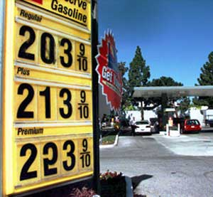 Gas prices are displayed at a gas station in Palo Alto, Calif., Wednesday, March 29, 2000.