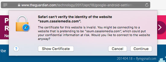 "On moving the mouse, the above popup appeared, which said:  Safari can't verify the identity of the website ""ssum.casalemedia.com"".  The certificate for this website is invalid. You might be connecting to a website that is pretending to be ""URL"", which could put your confidential information at risk. Would you like to connect to the website anyway?"""