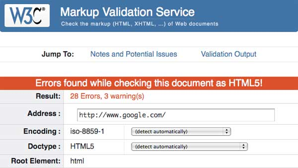 Google fails W3C Validation on Monday, August 13, 2012