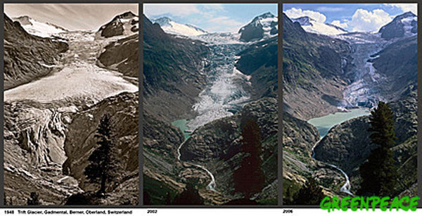 Composite image from Greenpeace of 3 pictures showing glacier retreat from 1948 to 2006.From left to right: 1948, 2002, 2006
