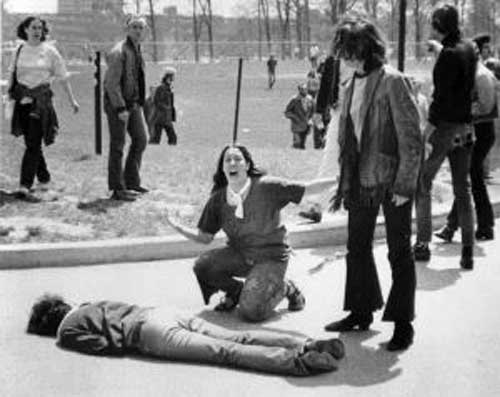John Filo's iconic Pulitzer Prize-winning Kent State Massacre Photograph via Wikipedia