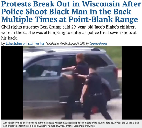 Protests Break Out in Wisconsin After Police Shoot Black Man in the Back Multiple Times at Point-Blank Range