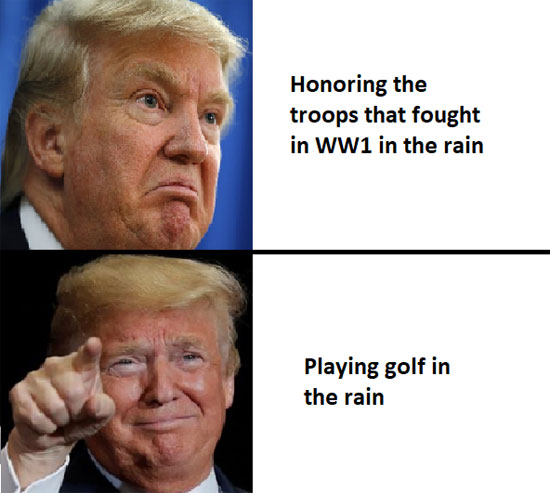 Playing golf in the rain