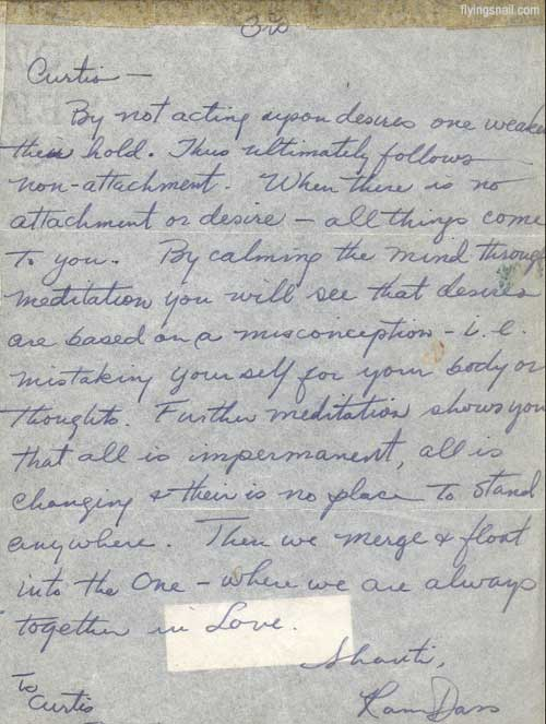 Letter to Curtis from Ram Dass