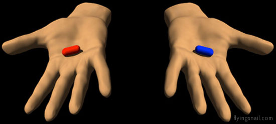 Red and Blue Pills ~ Red Pill == Knowledge, freedom and the (sometimes painful) truth of reality ~ Blue Pill == Falsehood, security and the blissful ignorance of illusion ~ Graphic:  C. Spangler