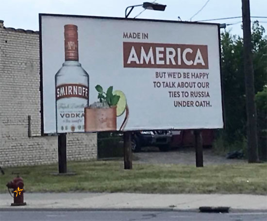 Smirnoff takes shots at Trump, real billboard, Detroit, Michigan