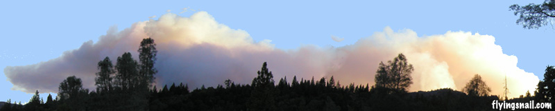 Panorama of a fire headed towards us several years ago.