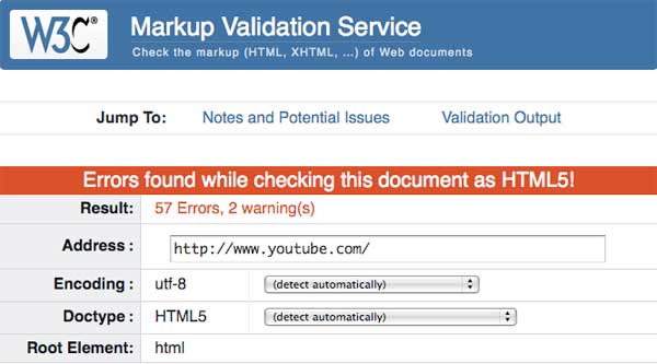 YouTube fails W3C Validation Monday, August 13, 2012