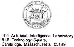MIT Artificial Intelligence Laboratory letterhead with address and logo image
