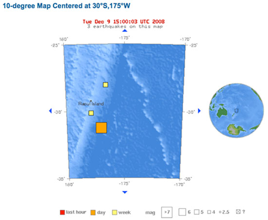 USGS Map of Magnitude 6.8 - KERMADEC ISLANDS REGION